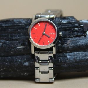 DKNY Red Face Silver Watch